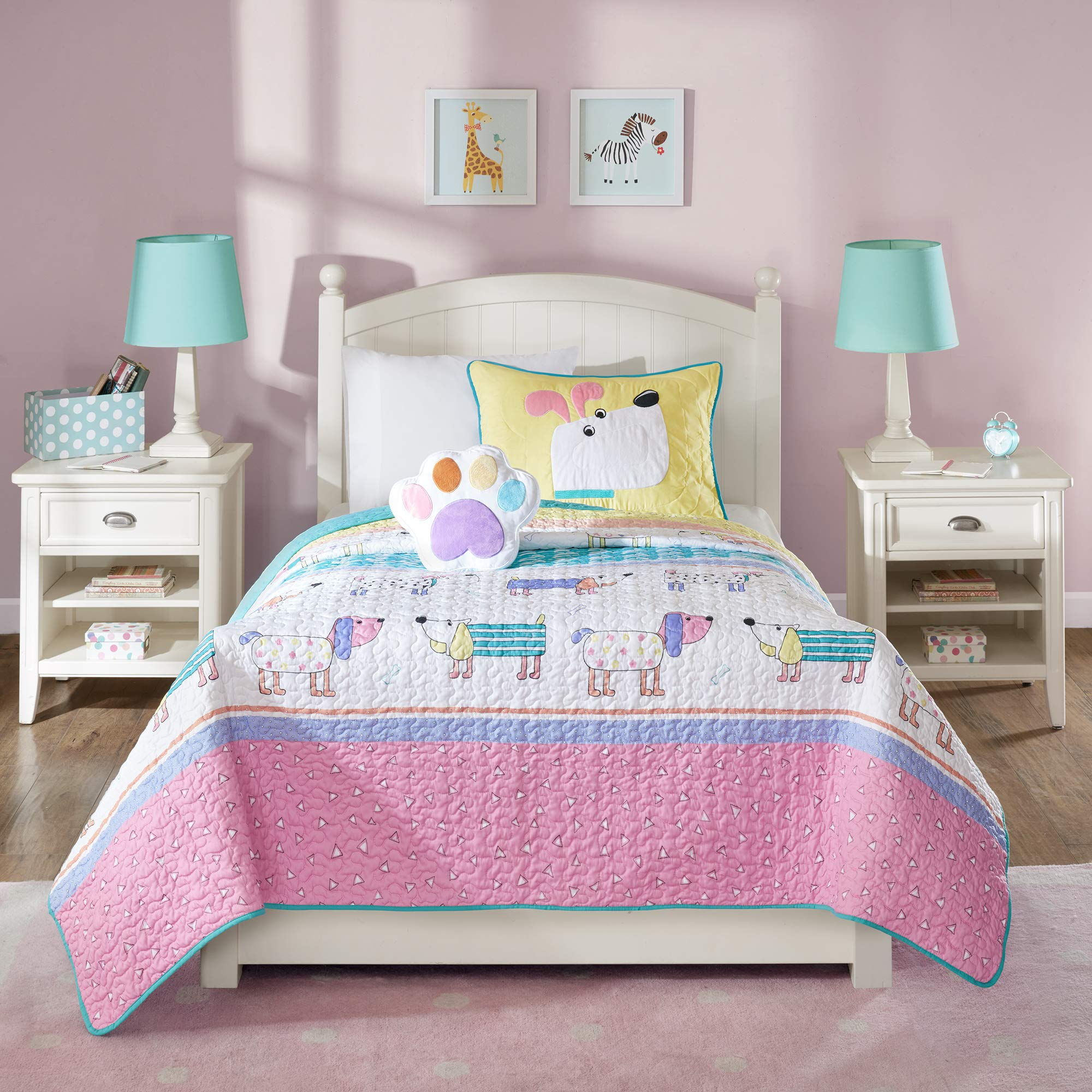 Mi Zone Kids Milo Twin Bedding for Girls Quilt Set - Pink Yellow, Animal Dog - 3 Piece Kids Girls Quilts - Ultra Soft Microfiber Quilt Sets Coverlet by Mizone Kids