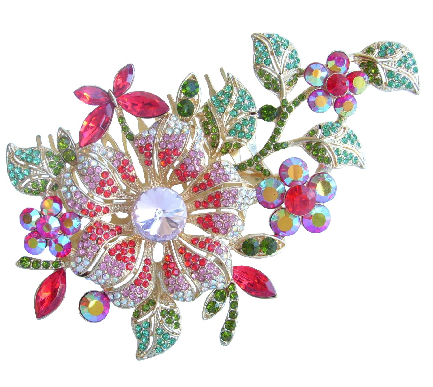 Sindary Hair Jewelry 4.72'' Multicolor Rhinestone Crystal Orchid Flower Hair Comb HZ4712