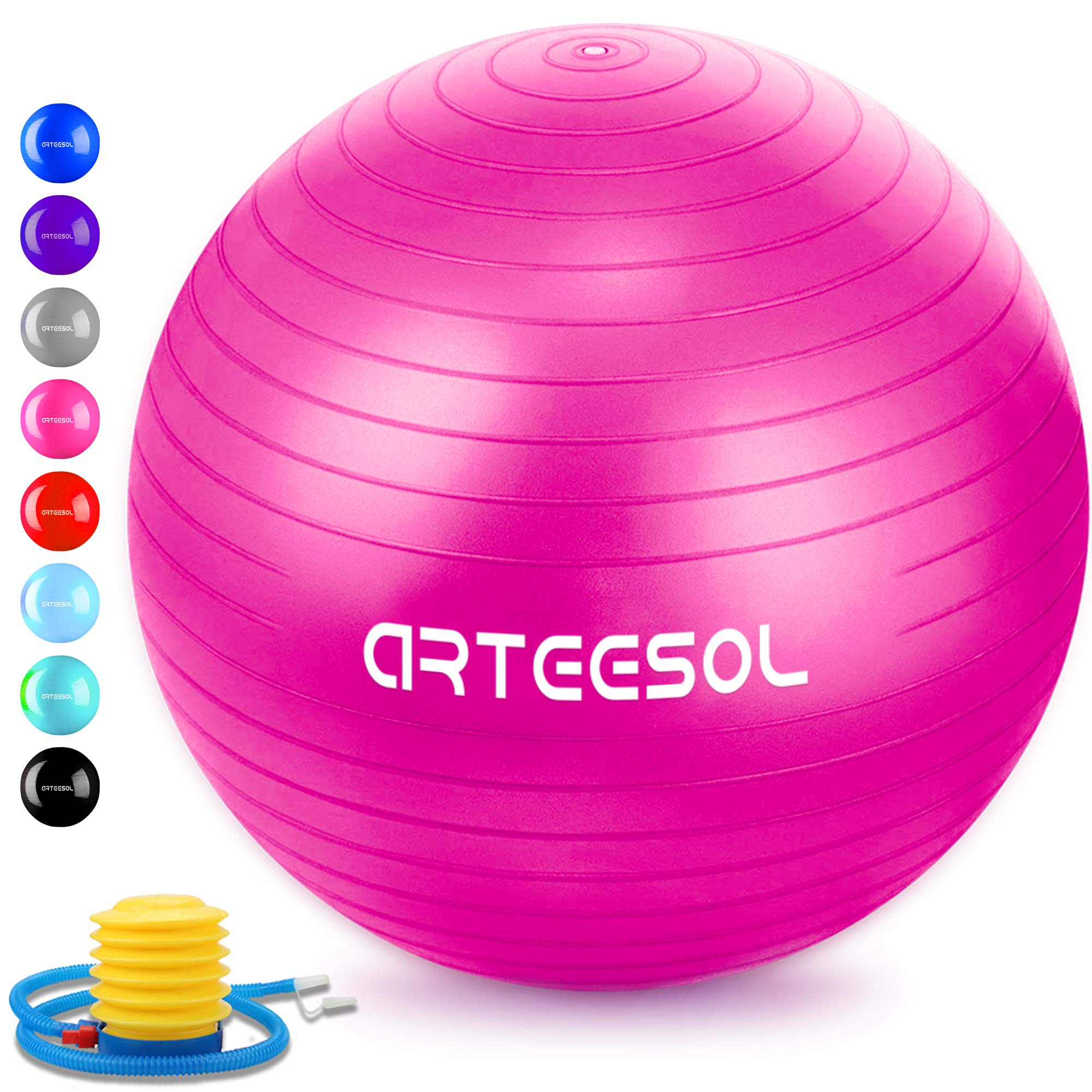 Arteesol Exercise Yoga Ball, Extra Thick Stability Ball Chair(45CM-77CM / 5 Colours), Professional Grade Anti Burst & Slip Resistant Balance, Fitness&Physical Therapy, Birthing Ball with Air Pump by arteesol