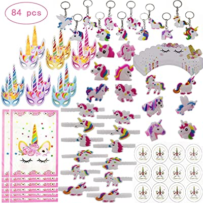 CHARMER HOME 84 Pack Unicorn Party Favors Supplies, Masks, Rings, Bracelets, Keychains, Cupcake holders, Stickers, Gift Bags, Kids Girls Novelty Rainbow Toy Gift Set, For 12 Guests: Toys & Games