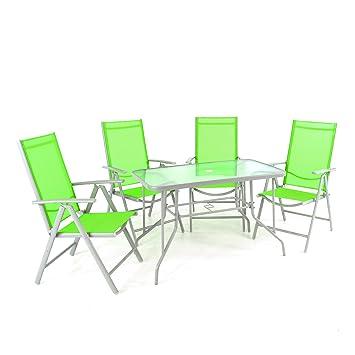 Nexos 5 Teiliges Gartenmöbel Set U2013 Gartengarnitur Sitzgruppe Sitzgarnitur  Aus Klappstühlen U0026 Esstisch U2013
