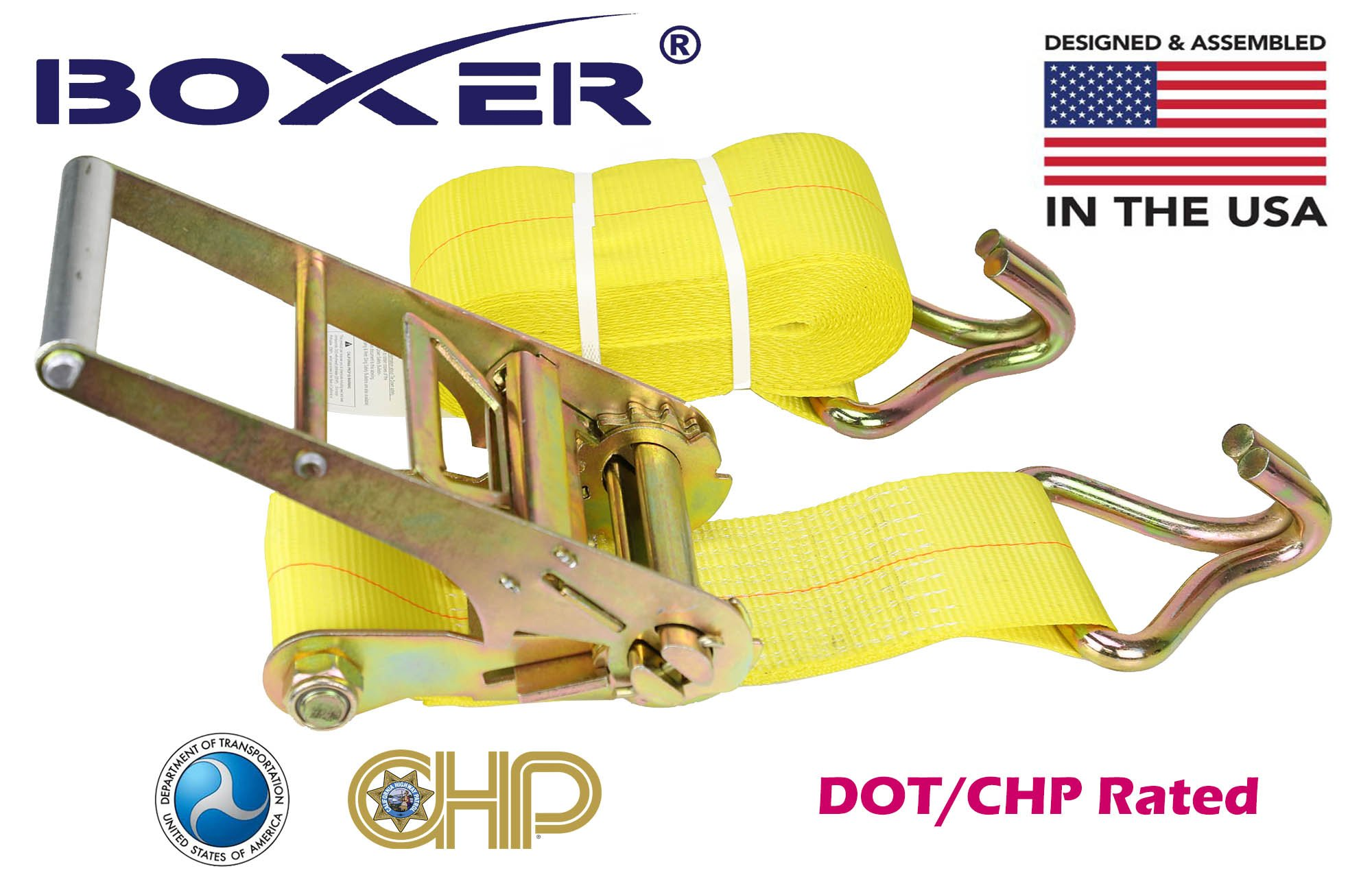 (4) Boxer Dual Locking DOT 4'' X 30' Ratchet Straps W/ Wire Hooks Flatbed Truck Trailer Tie Down 5400 LB US Made