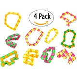 Wacky Tracks Finger Fidget Stress Reliever - Snap and Click ADHD, Sensory toy, SPD, ADD Stress Relief, Party Favor 4 Pack by Big Mo's Toys