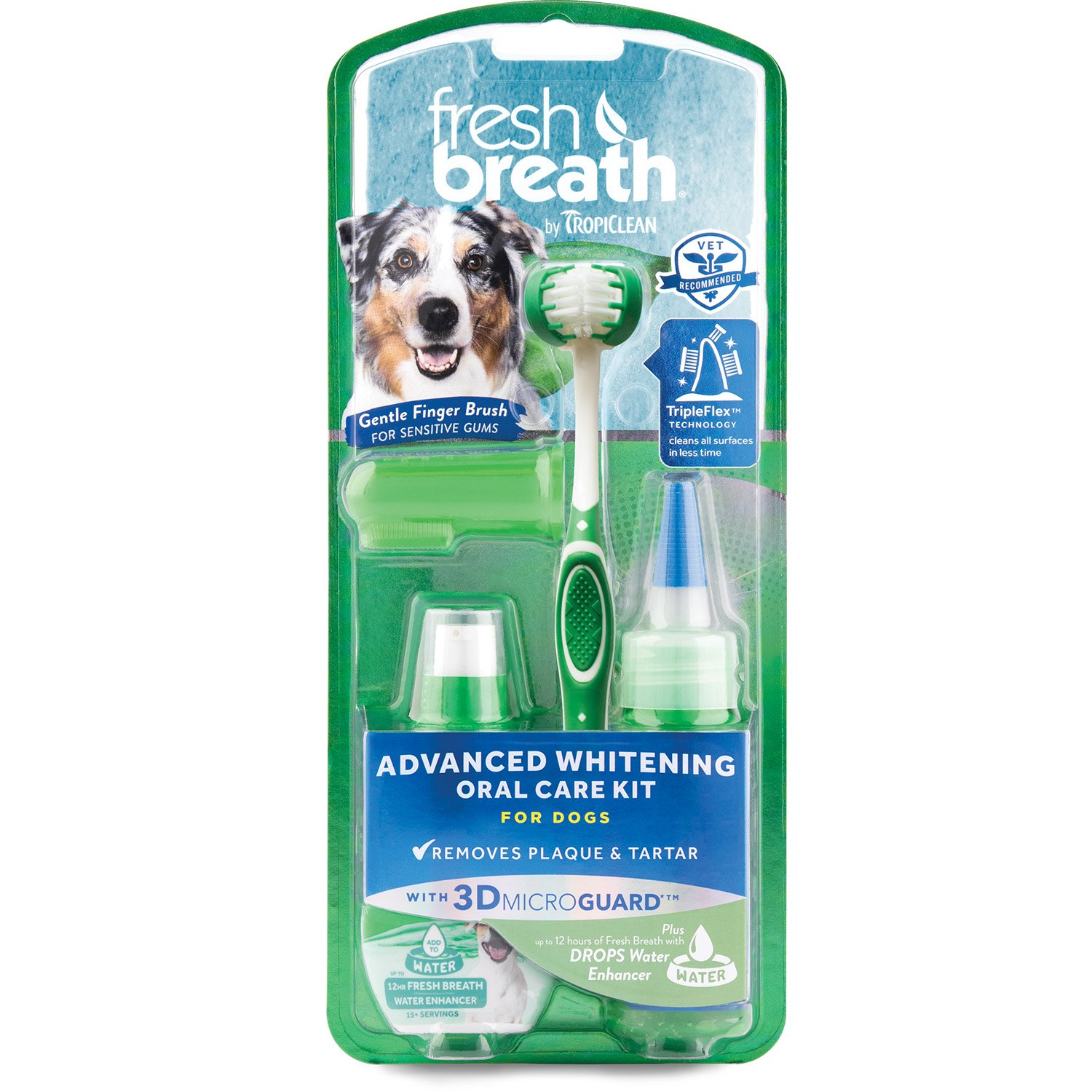 Fresh Breath by TropiClean Advanced Whitening Oral Care Kit for Dogs, Large, Made in USA