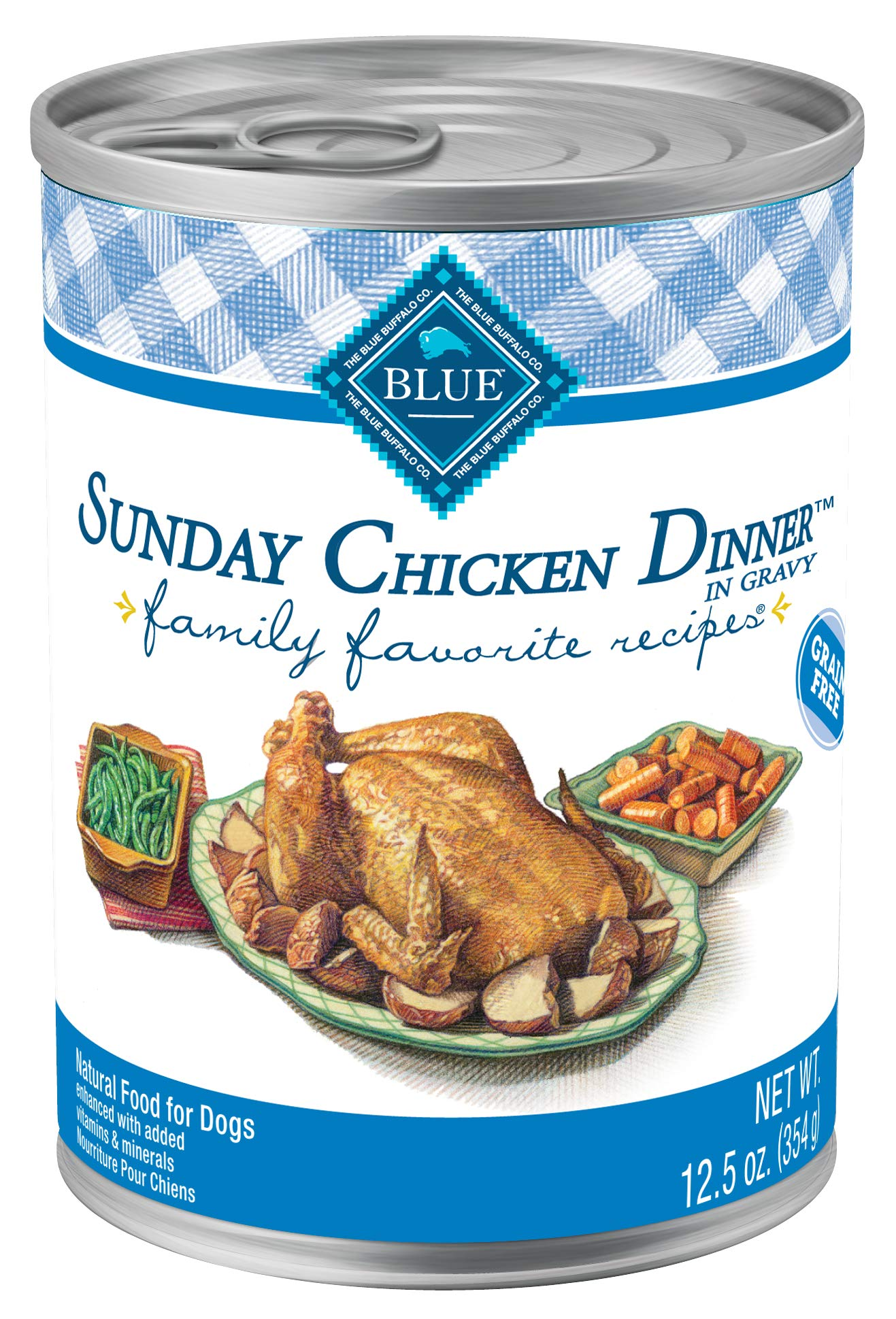 Blue Buffalo Family Favorites Natural Adult Wet Dog Food, Sunday Chicken 12.5-oz can (Pack of 12) by Blue Buffalo