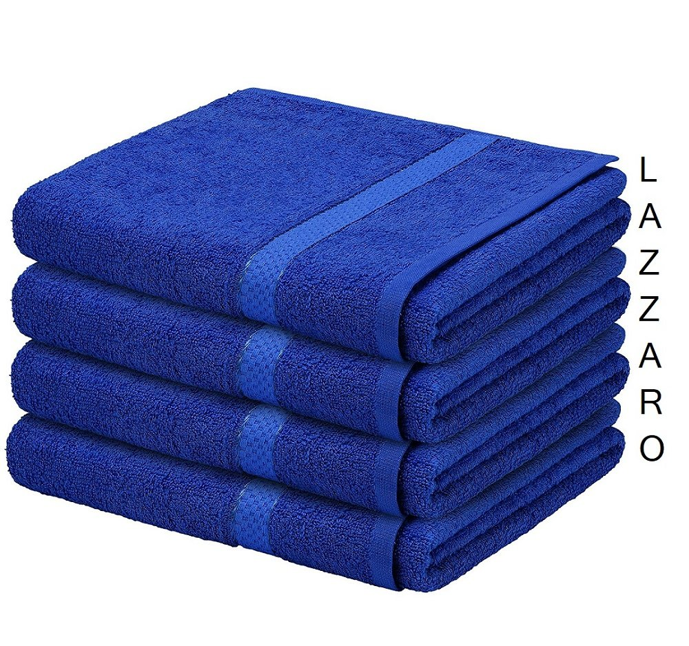LAZZARO Supreme 500 GSM Egyptian Cotton Bath Towel Pack of 4 And 13 Colours (Royal Blue)