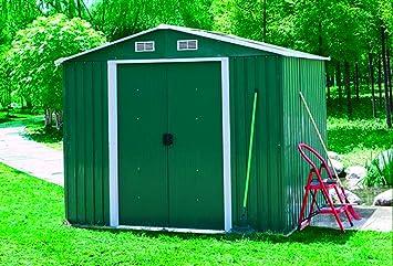 Cobertizo de jardín - Medidas 2460 x 1925 x 1775 cm - Color verde - Trastero - Chapa barnizada: Amazon.es: Jardín