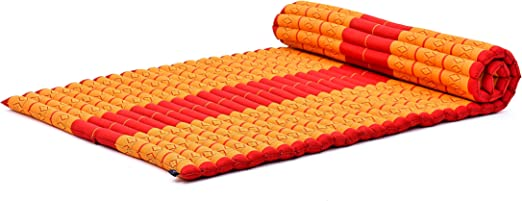 Leewadee Roll-Up Thai Mattress Guest Bed Yoga Floor Mat Thai Massage Pad XL Twinsize Eco-Friendly Organic and Natural, 79x41x2 inches, Kapok, Orange ...