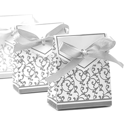 Amazon Com Vsolucky 50pcs Silver Favor Boxes Candy Paper Box