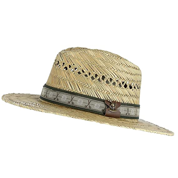 967acc243c5 Scala Classico Men s Rush Straw Safari Hat with Golf Club Pin and Hatband   Amazon.co.uk  Clothing