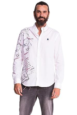 Desigual CAM_Bolimania, Camisa para Hombre, Blanco S: Amazon.es ...
