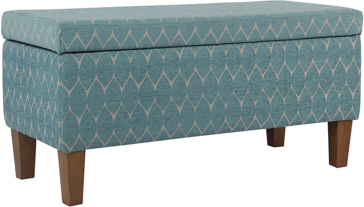 HomePop Large Upholstered Rectangular Storage Ottoman Bench with Hinged Lid, Blue and Cream Medallion
