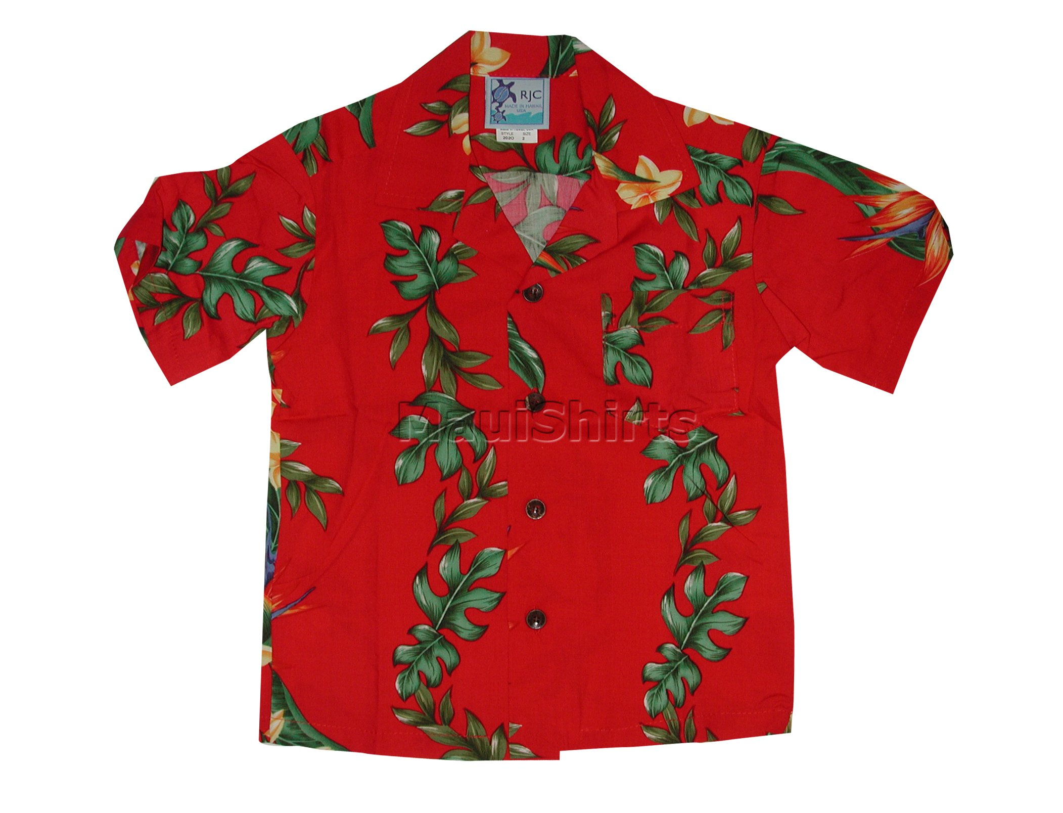 RJC Boys Island Bird of Paradise Panel Rayon Shirt Red 16 by RJC (Image #2)