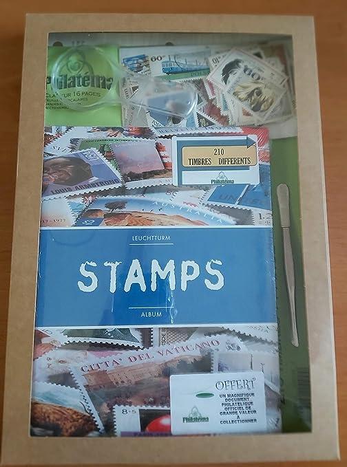 Philatéma - Kit de filatelia (archivador, lupa, pinza y 210 sellos): Amazon.es: Hogar