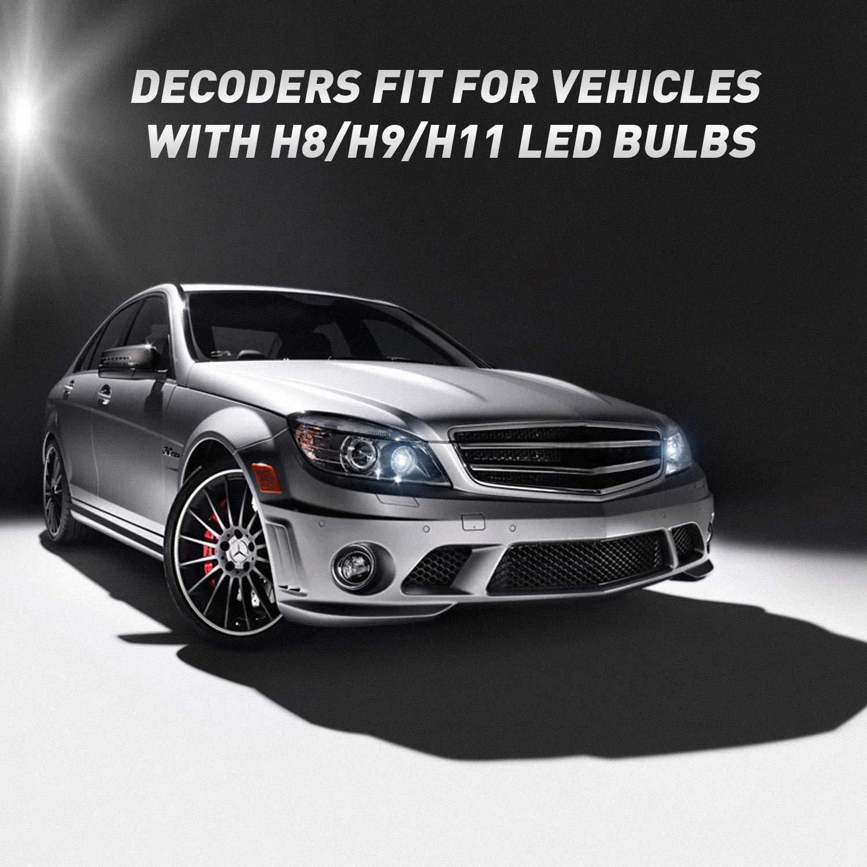LED Decodificador de faros CAN-BUS Sin error Advertencia Cancelador parpadeo Arn/és de resistencia 2 piezas 9012//9005//9006 DZG HIR2//HB3//HB4