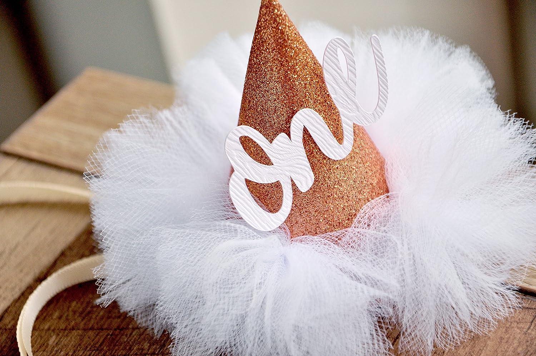 fe987f2abd9 Amazon.com  First Birthday Hat. Rose Gold Birthday Hat. Smash Cake Hat. Winter  Onederland Mini Party Hat.  Handmade