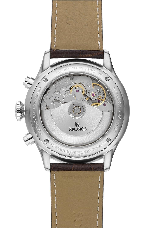 888b414a7 Kronos - Pilot Automatic Chronograph Black 991.55 - Knight Clock Automatic  Dial, Black Leather Strap, Colour: Black: Amazon.co.uk: Watches
