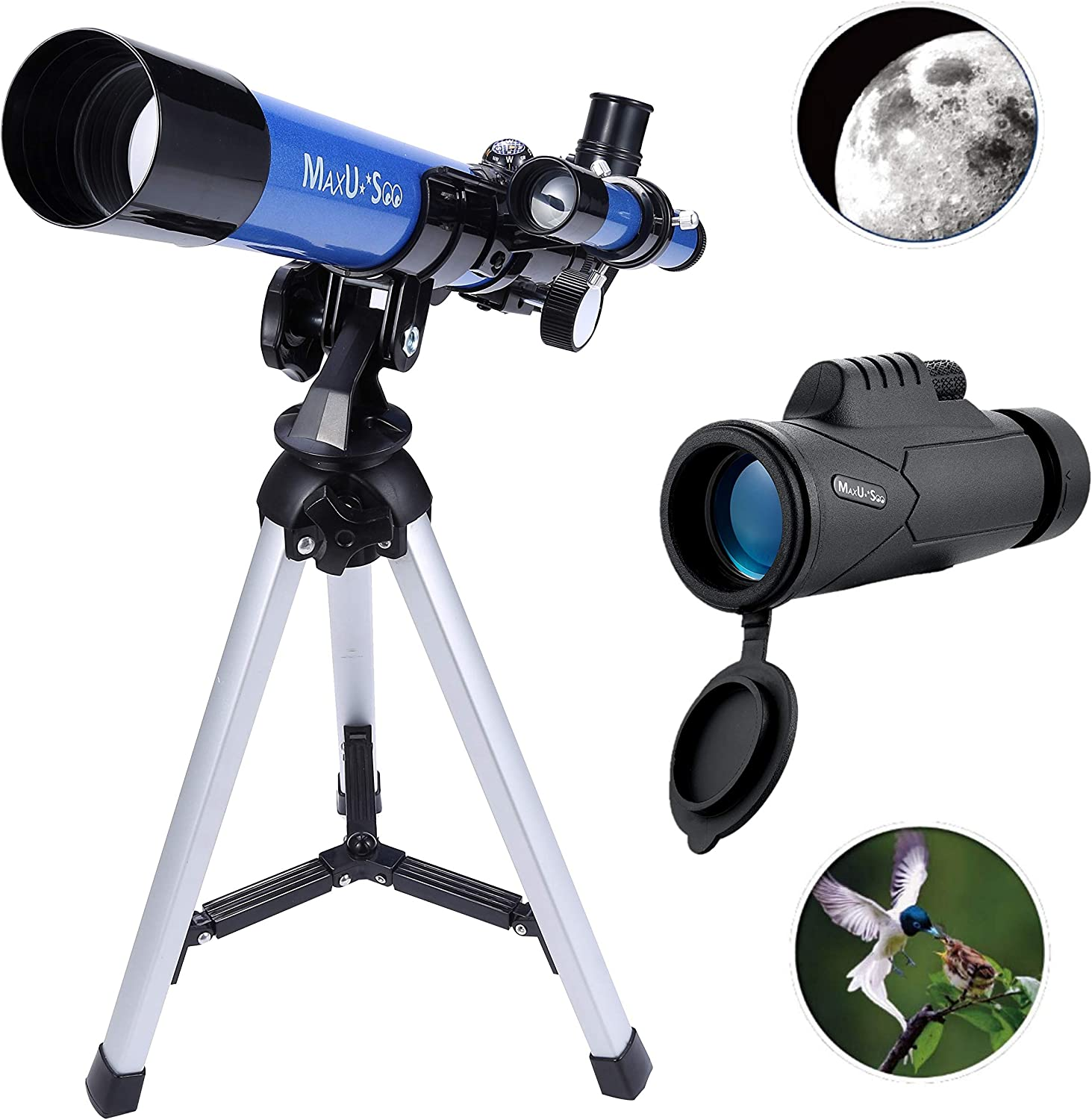 Telescope Outdoor Telescope Monocular Space Scope with Portable Tripod to Observe Moon and Planet Color : As Shown, Size : One Size