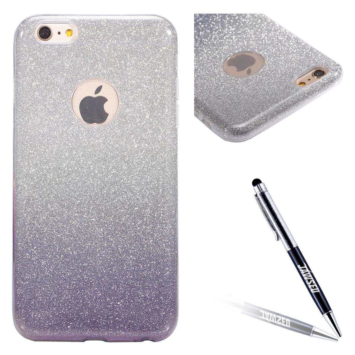 JAWSEU iPhone 6/6S Custodia Cover Silicone TPU [360 Gradi] 3 in 1 Protezione Completa Glitter Sparkle Bling RossaUltra Sottile Gel Morbida Flessibile Liscio Antiurto Coperture Bumper iPhone 6 / iPhone 6S