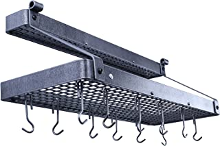 product image for Enclume Premier Bookshelf Wall Pot Rack with Shelf, Hammered Steel