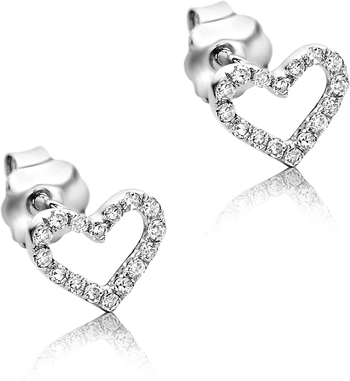Orovi Pendientes Señora Corazón presión en Oro Blanco con Diamantes Talla Brillante 0.09 ct Oro 9 Kt / 375
