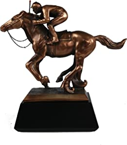 Marian Imports F54079 Jockey On Horse Bronze Plated Resin Sculpture - 10 x 4 x 10 in. by Marian Imports