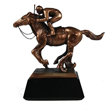 Marian Imports F54079 Jockey On Horse Bronze Plated Resin Sculpture