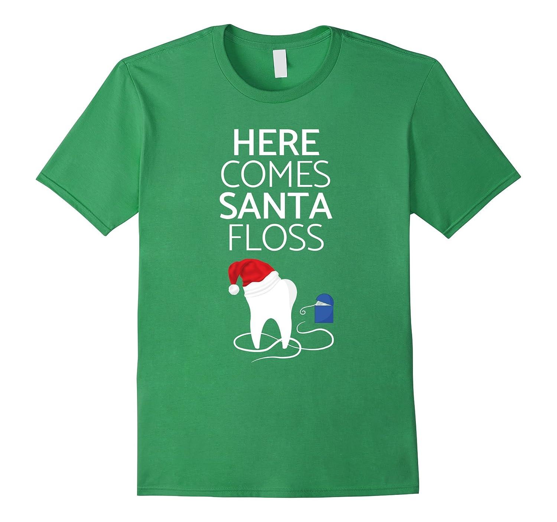 Santa Floss Funny Dentist Dental Assistant Teeth T Shirt-FL