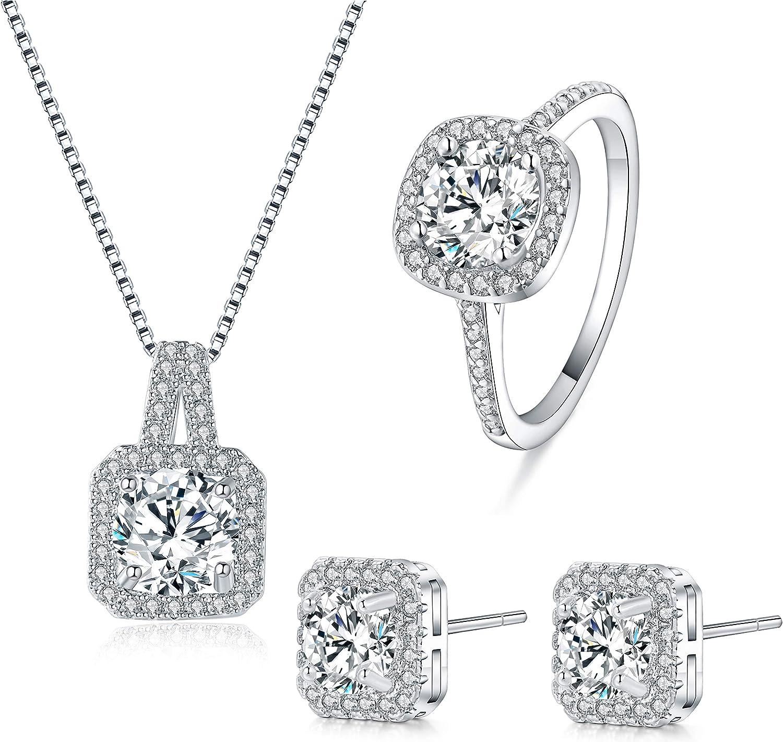 Juego de Joyas - chapado en 925 plata esterlina conjunto colgante de collar y pendientes y anillo cristal claro para mujer adolescente niña pequeña mamá - accesorio de joyería de regalo premium