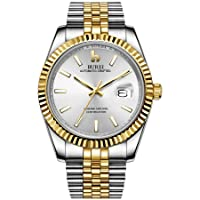 Burei Men's Automatic Watch Elegant Model Classic Design Synthetic Sapphire Glass Stainless Steel Case and Strap