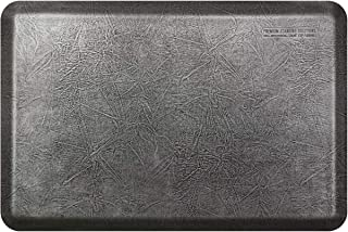 "product image for WellnessMats Leather 3/4"" Anti-Fatigue Mat - Comfort & Support - Non-Slip, Non-Toxic (Silver Leaf, 3'x2')"