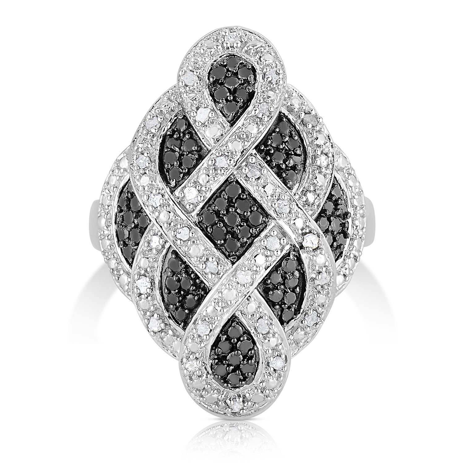 1/2 Carat Weight - White And Black Diamond Ring in Rhodium Plated Brass