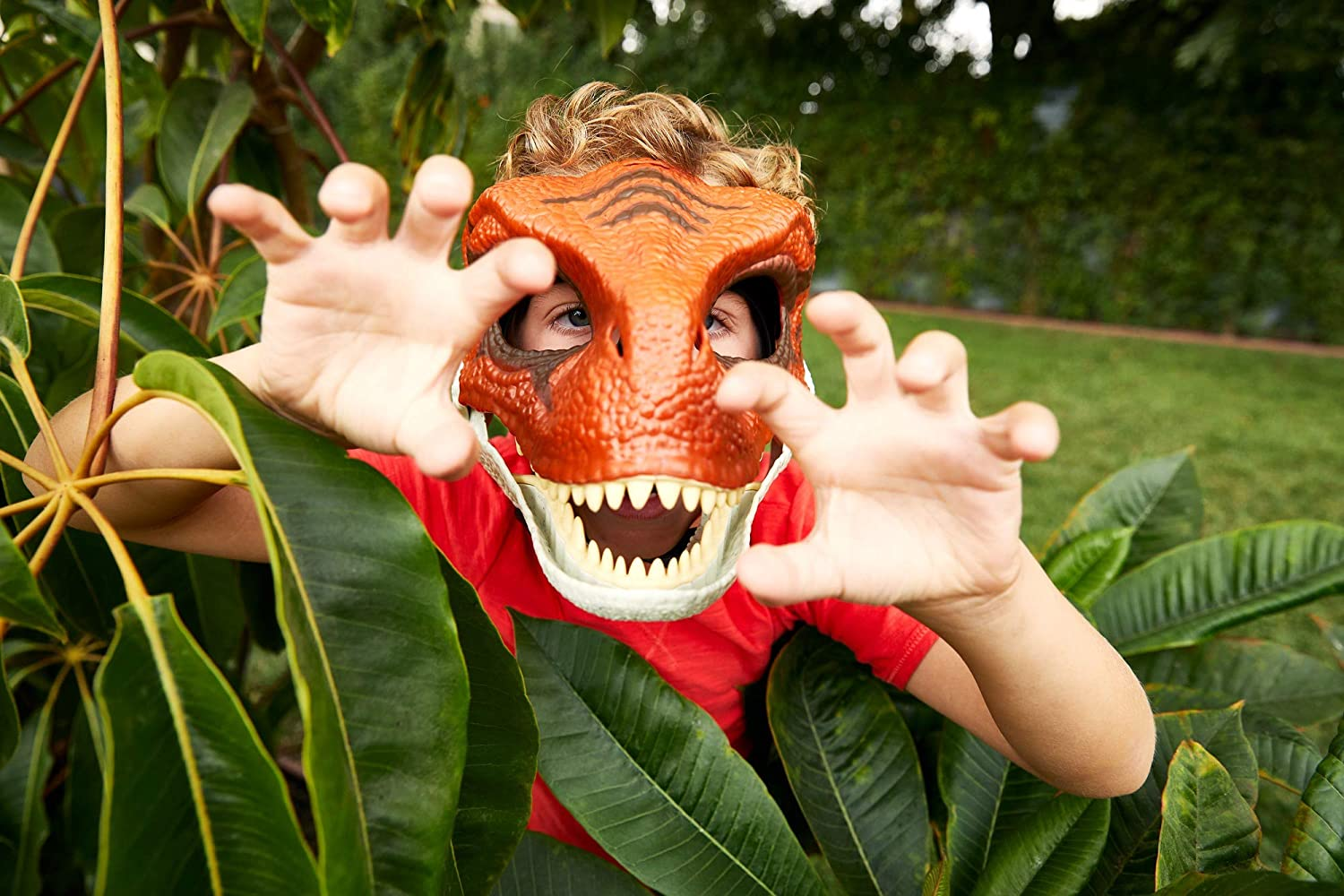 Color : Red KODH Nuova Simulazione Dinosaur Mask Modello Halloween Tidy Toy Cos Animal Dress Mask Puzzle Toy Parrucca Divertente