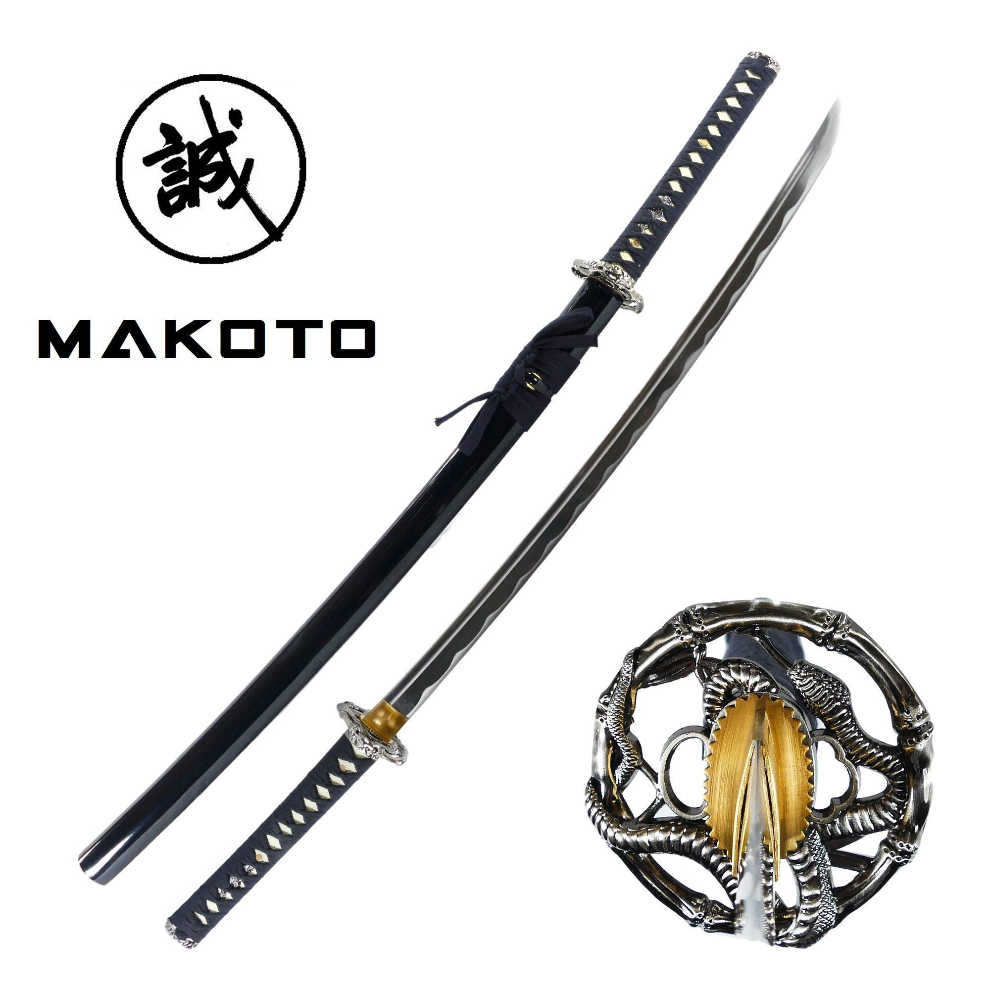 MAKOTO Handmade Sharp Katana Samurai Sword 40'' - Serpent Cobra Snake Tsuba (Black) by MAKOTO
