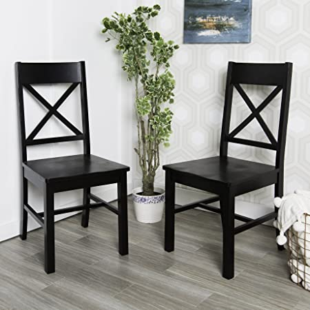 WE Furniture Solid Wood Black Dining Chairs, Set of 2