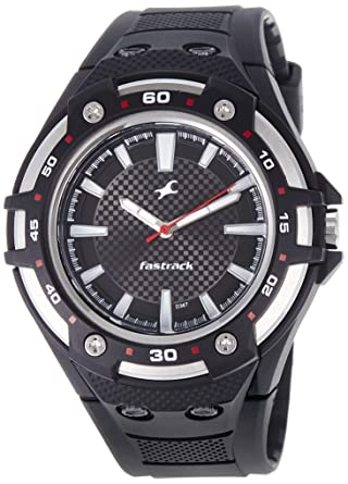 d7d0b453b Image Unavailable. Image not available for. Color  Fastrack Men s 9332PP02  Casual Black Polyurethane Strap Watch