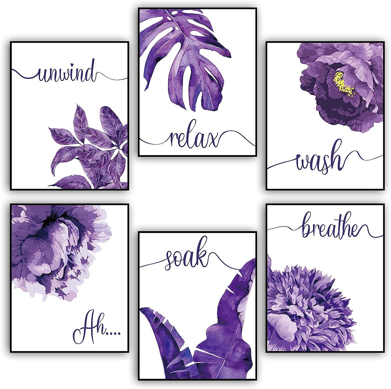 6 Pieces Relax Soak Unwind Breathe Bathroom Decor, Purple Bathroom Wall Decor, Purple Flower Art Pictures, Farmhouse Wall Decor Art Painting for Home, Office College Living Room Bathroom, 8 X10 Inch