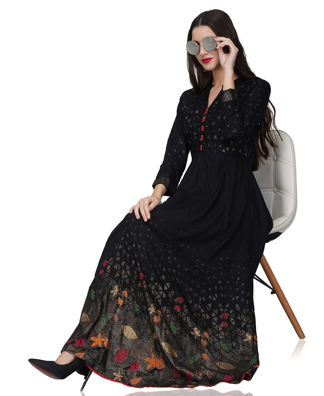 Black A-line Floral Print Kurta For Womens
