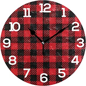 """Wall Clock Red Black Buffalo Plaid Seamless Round Acrylic Clock White Large Numbers Silent Non-Ticking 9.45"""" Clock Decorative Painting Battery Operated Clock for Home School Hotel Library"""