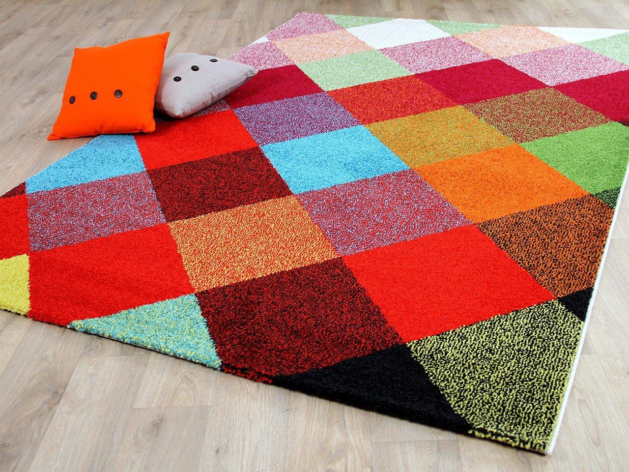 Funky Designer Teppich Karo Bunt in 4 Größen
