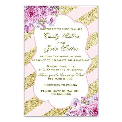 Create Wedding Invitations.Amazon Com 100 Wedding Invitations Blush Pink Gold Floral Design