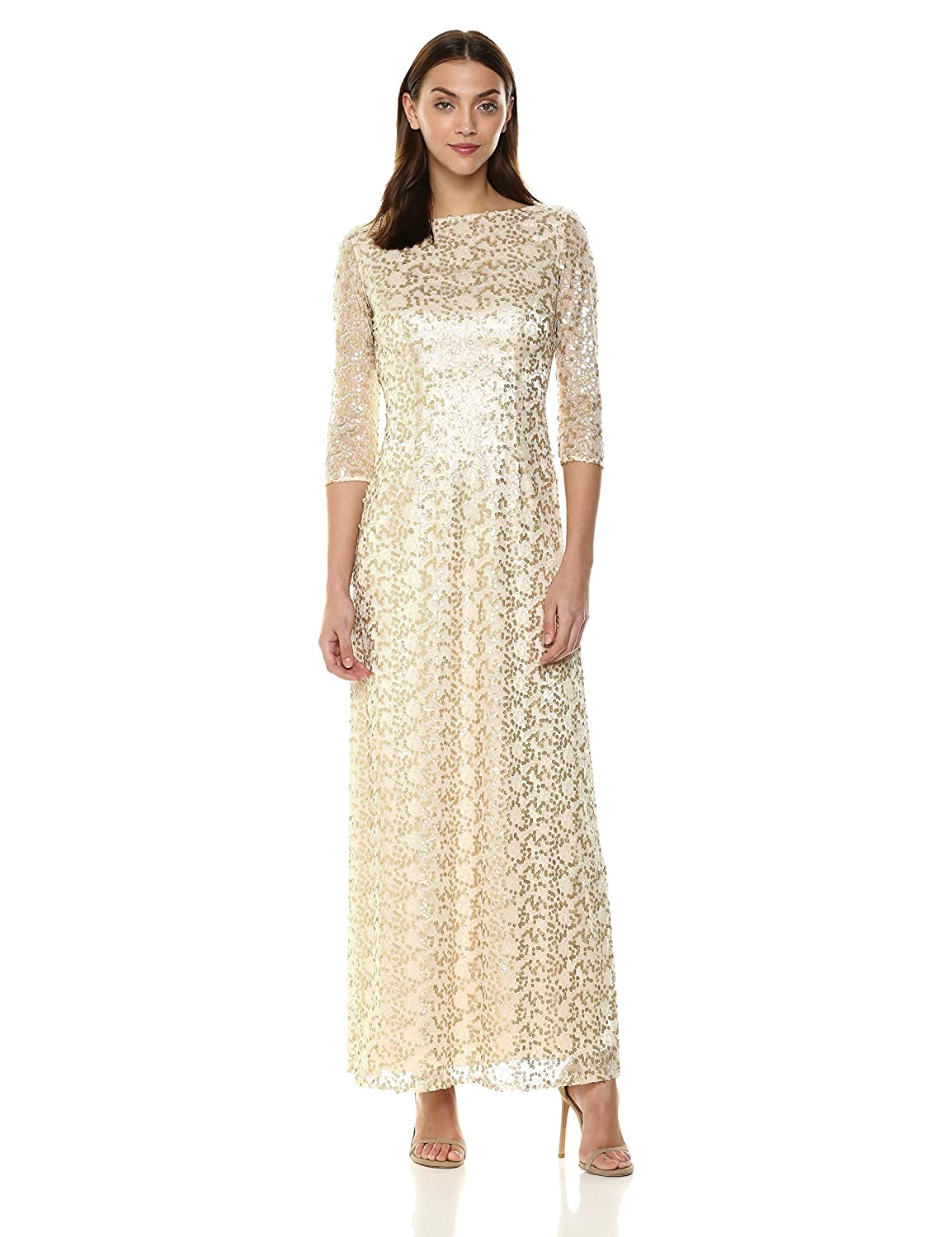 Champagne gold Tahari Womens Three Quarter Sleeve Aline Special Occasion Dress