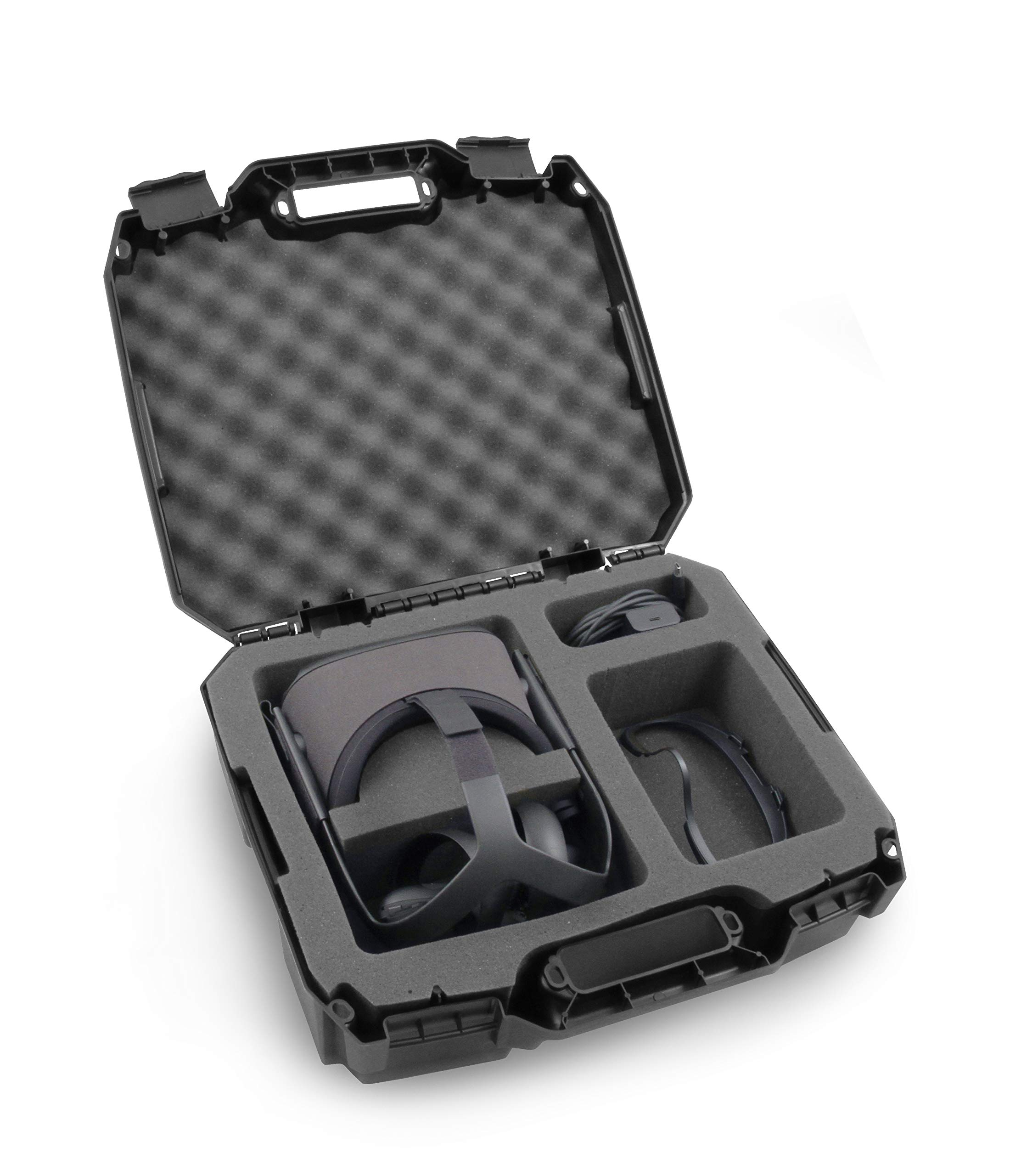 CASEMATIX Hard Shell Travel Case Compatible with Oculus Quest VR Headset 128GB 64 GB and Accessories with Custom Compartments