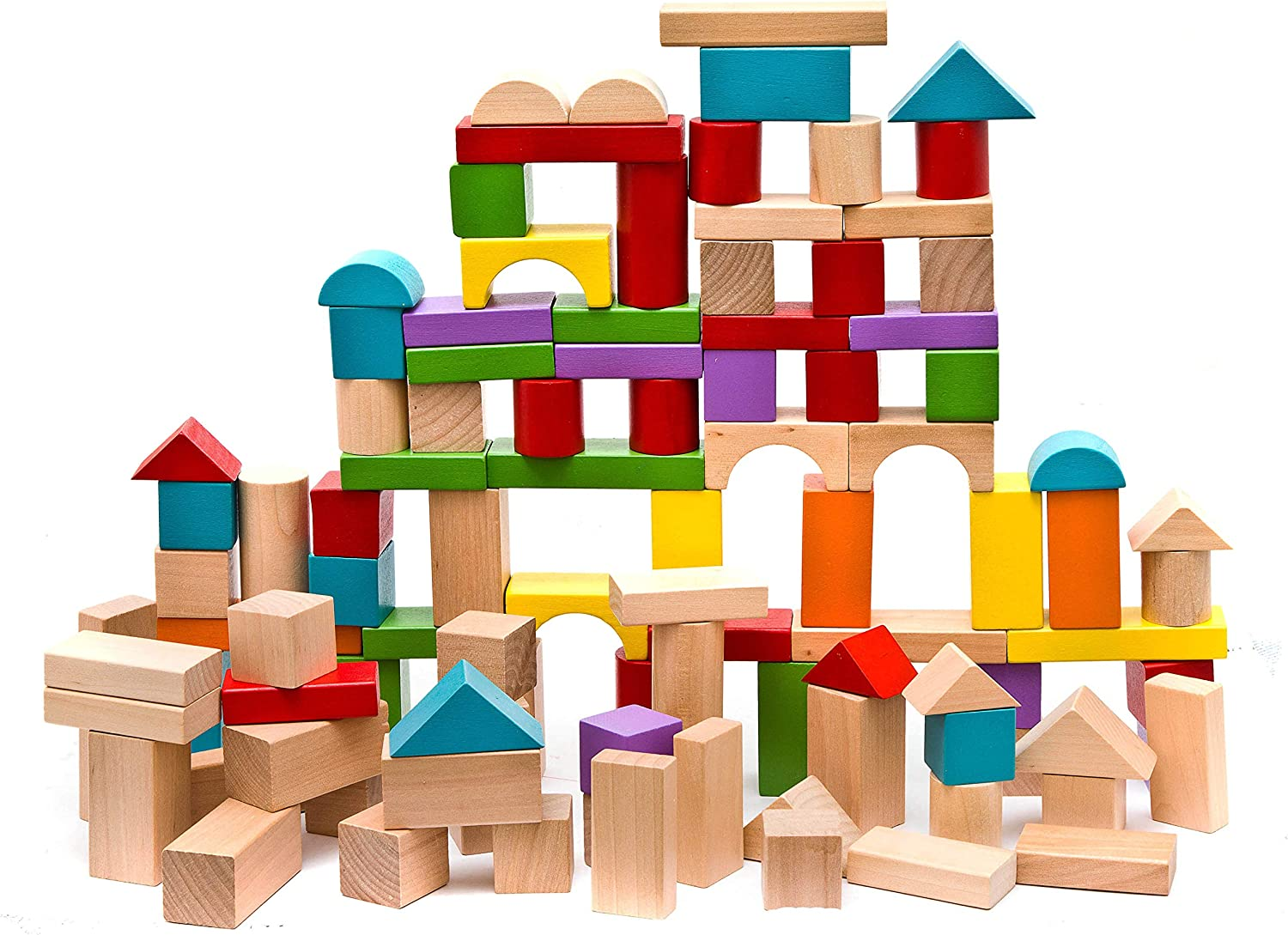 Natural Colored 100-Piece Wooden Building Blocks Stacking Set Toys for Kids