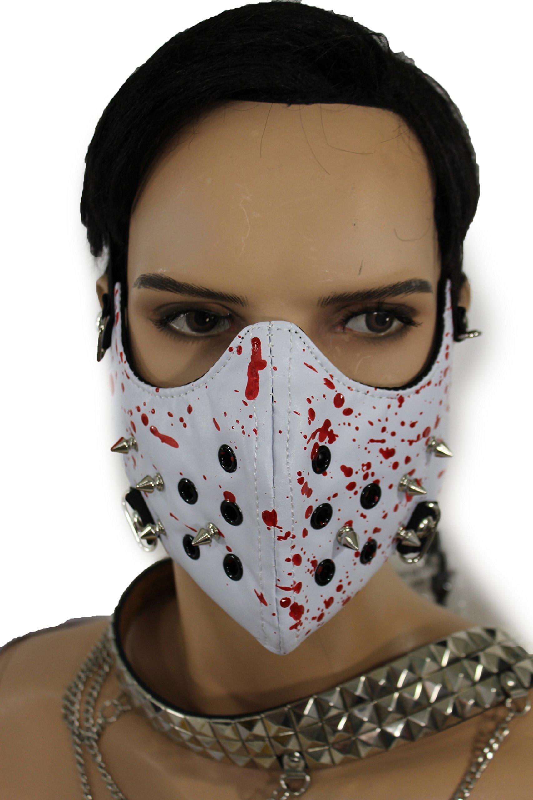 TFJ Men Mouth Muzzel Halloween Half Face Hannibal Spikes Mask S&m Costume Blood White