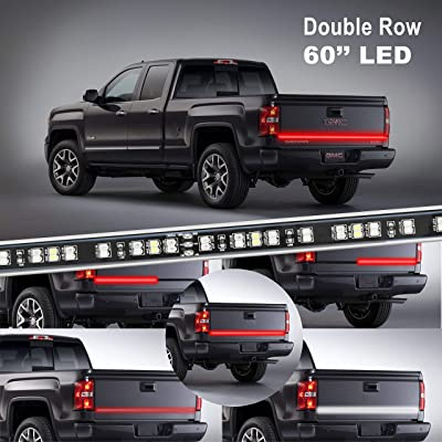 LED Truck Tailgate Light Bar Strip, KUFUNG 60 Inch 2-Row Waterproof Red White Reverse Brake Lights, Easy-to-install Turn Signal Running for Truck, SUV, RV, Trailer: Automotive