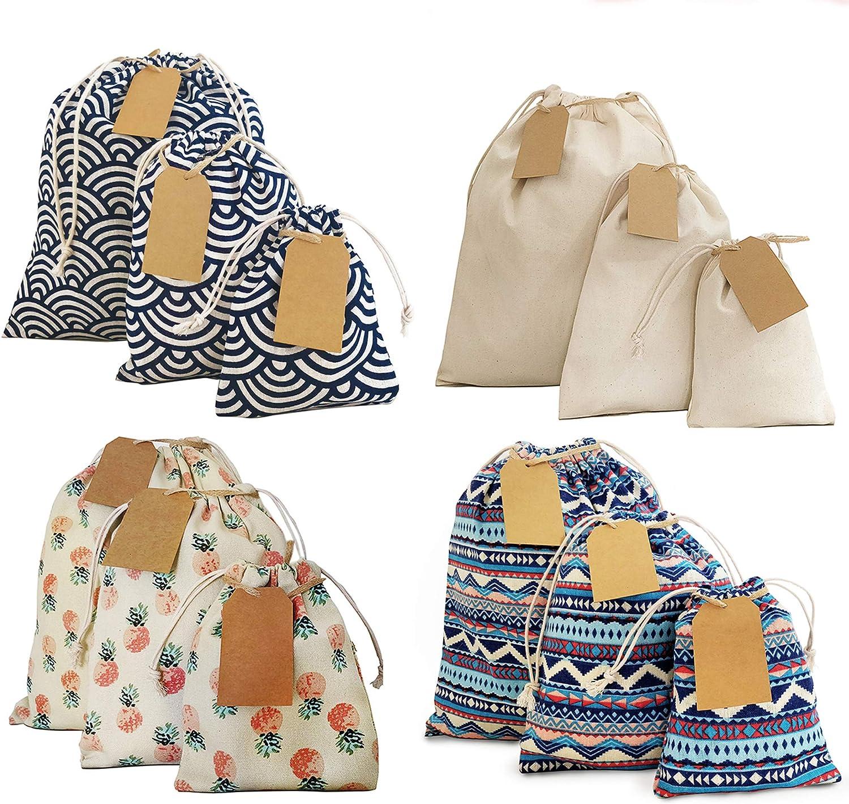 Erimova - Drawstring Gift Bags + Bonus Gift Tags & String! Canvas Bags with Drawstring. Birthday gift bags. Weddings Baby shower Arts Craft. S - M - Large gift bags. Reusable Bags.