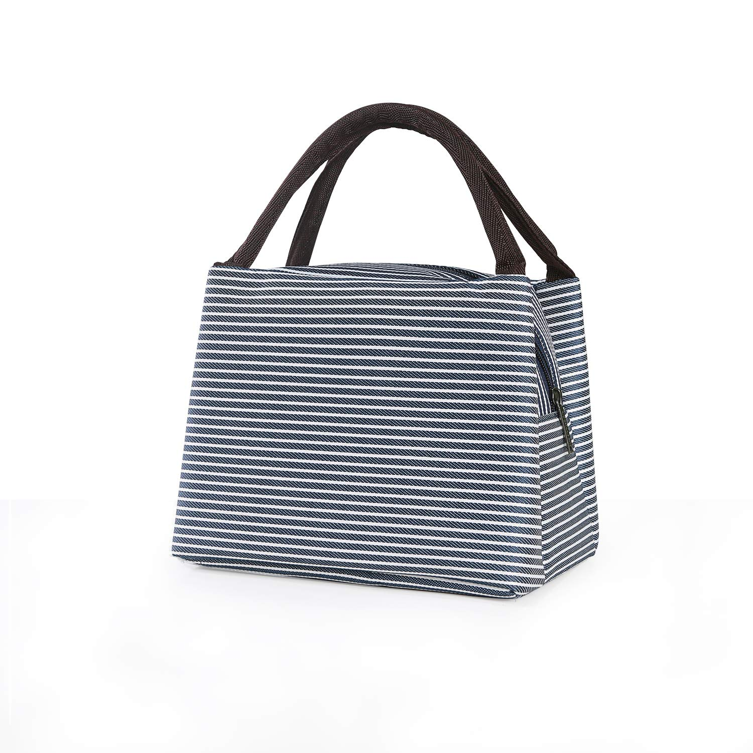 Buzazz Lunch Bag Picnic Cool Bag Lunch Box Bag for Students,Office,Picnic Tote Cooler Travel Bag Lunch Organizer for Adults or Kids (Blue) (Blue White Stripes)
