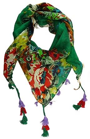 dd7fb96ec941 TigerTie dames foulard Triangle tissu vert rouge jaune orange gris lila  fleuri - taille 160 x