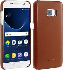 StilGut Cover, Coque arrière en Cuir véritable pour Samsung Galaxy S7, Cognac